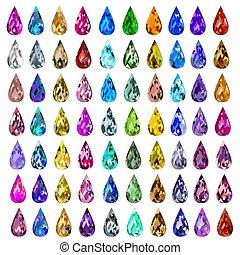 pietre, differente, set, illustrazione, colori, prezioso