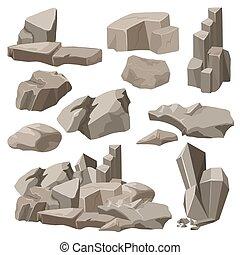 pietre, elementi, illustration., set., collezione, pietre, vettore