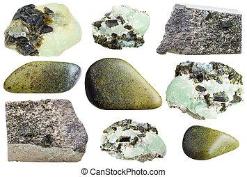 pietre, epidote, set, naturale, minerale, vario