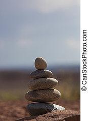 pietre, equilibrio, -, ciottoli, pila