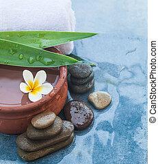 pietre, fiore blu, foglie, lungo, tropicale, fondo., verde, trattamento, terme, tavola, massaggio