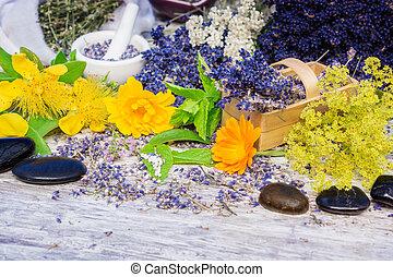 pietre, fiore, erbe, bach, guarigione, globuli, medicinale, rimedi