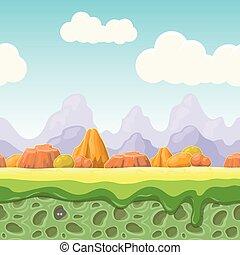 pietre, fondo, cartone animato, paese, paesaggio., orizzontale, fata, seamless, gioco, racconto, design., illustrazione