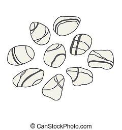 pietre, fondo, collezione, vettore, mare, bianco