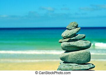 pietre, isole, canarino, sabbia, fuerteventura, bilanciato, spiaggia bianca, pila, spagna