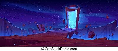 pietre, montagna, portale, scogliera, magia, volare