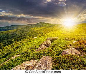 pietre, montagne, tramonto, hight, ciottoli