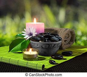 pietre, nero, vaso, candele
