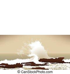 pietre, pacifico, onda grande, oceano, arresto