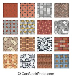 pietre, pietra, set, strada, pavimento, lastricatore, pattern., seamless, modelli, marciapiede, vettore, passerella, pavimentazione, roccia, mattone, lastra, blocco