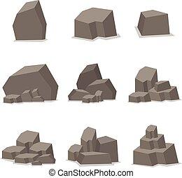 pietre, pietre, set, vettore, elemento