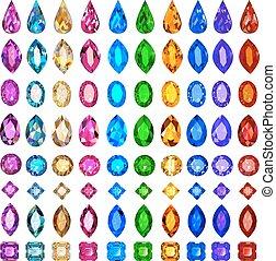 pietre, prezioso, set, illustrazione