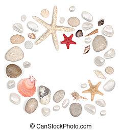 pietre, seashell, cornice, bianco, isolato