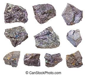 pietre, set, bornite, isolato, bianco, vario