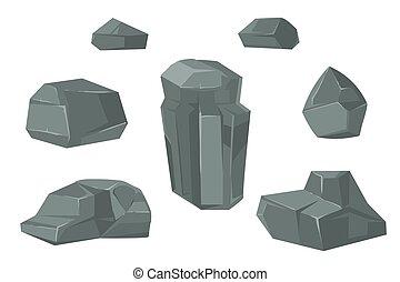 pietre, set, ciottoli, pietre, vettore, cartone animato