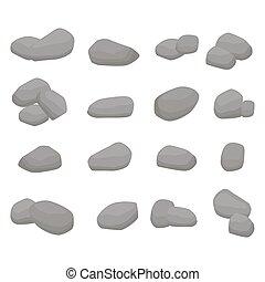 pietre, set, grande, grigio, firewood., collezione