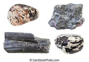pietre, set, isolato, aegirine, bianco, vario