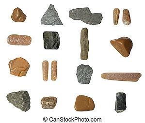 pietre, set, isolato