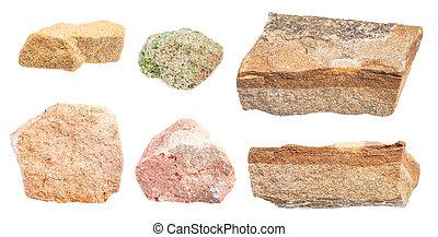 pietre, set, isolato, arenaria, bianco, vario