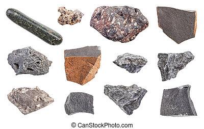 pietre, set, isolato, basalto, bianco, vario