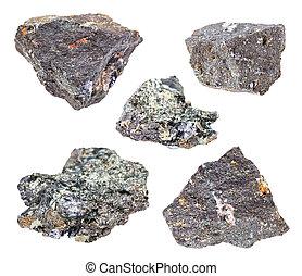 pietre, set, isolato, minerale, bianco, molybdenite