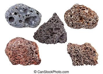 pietre, set, isolato, pomice, bianco, vario