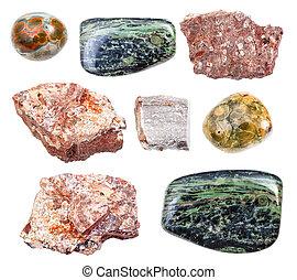 pietre, set, isolato, rhyolite, bianco, vario