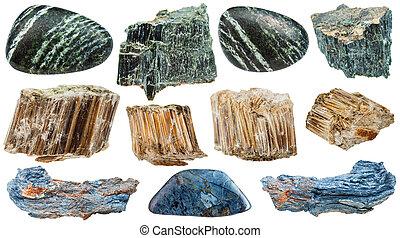 pietre, set, minerale, amianto, isolato, vario