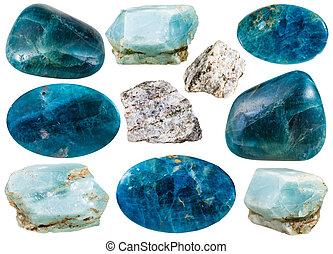 pietre, set, naturale, minerale, apatite, vario