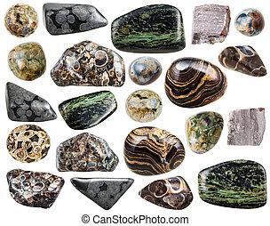 pietre, set, naturale, minerale, rhyolite, vario
