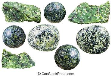 pietre, set, naturale, minerale, vario, serpentino