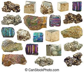 pietre, set, pirite, vario, cristalli, minerale