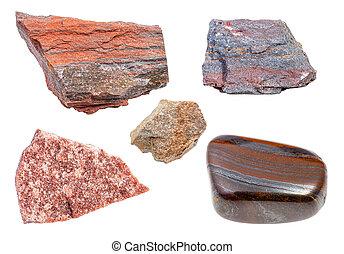 pietre, set, quarzite, isolato, bianco, vario