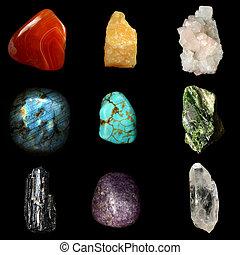 pietre, set, vario, minerale, pietre