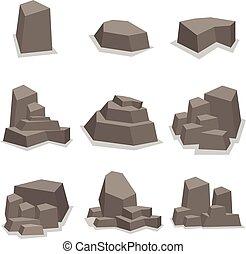 pietre, set, vettore, collezione, roccia