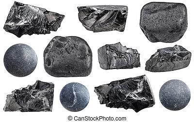 pietre, shungite, set, naturale, minerale, vario