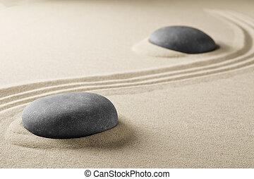 pietre, spirituale, zen, sabbia, meditazione