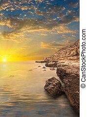 pietre, tramonto, rays., mare