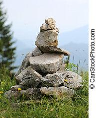 pietre, usato, cairn, do, questo, mucchio, mountain., ...