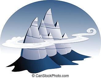 pietroso, montagna, illustrazione