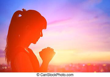 pieux, femme, prier