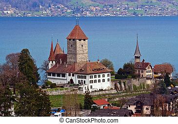 piez Church with Lake of Thun Switzerland