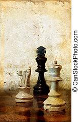 piezas de ajedrez, en, un, grunge, plano de fondo