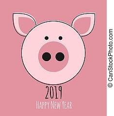 pig., カード, 新年, 漫画, 2019, 幸せ, デザイン, かわいい, イラスト