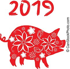 pig 2019 - vector New Year 2019 floral pig