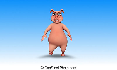 Pig 3D Fun Character, 2 Video Loops - on Background and on Alpha Channel