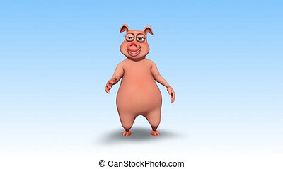 Pig 3D Fun Character - 2 Video Loops - on Background and on Alpha Channel