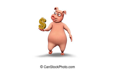 Pig 3D Fun Character. 2 Video Loops - on Background and on Alpha Channel