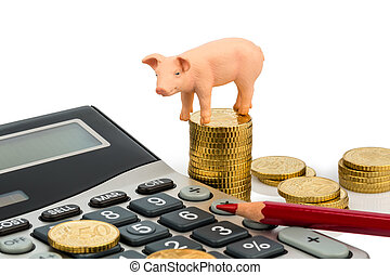 a pig and a calculator as a symbol photo for costs and income for a farmer in the landwirtschaft. ausgaben, revenue and accounts.