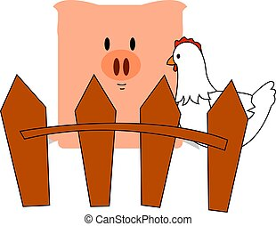 Pig and chicken, illustration, vector on white background.